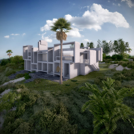 视觉艺术家保罗再现鲁道夫米拉姆住宅房子-在佛罗里达州,根据保罗・鲁道夫基金会设计,内壁采用光滑铸砂色的混凝土块为材料,不但节约成本还环保---酷图编号1138927