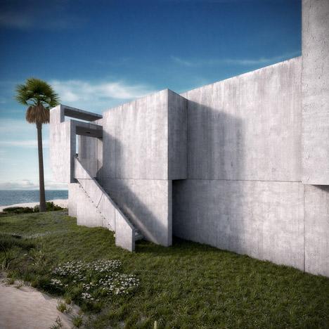视觉艺术家保罗再现鲁道夫米拉姆住宅房子-在佛罗里达州,根据保罗・鲁道夫基金会设计,内壁采用光滑铸砂色的混凝土块为材料,不但节约成本还环保---酷图编号1138928