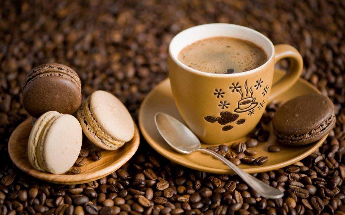 高清晰马卡龙饼干咖啡早餐食品壁纸下载封面大图