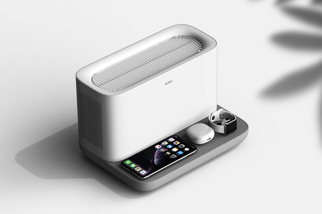 一个时尚的无线充电器-也是一台节省空间的空气净化器---酷图编号1259134