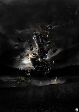 欧美超酷黑色主题插画-天鹅湖