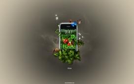 美国2011苹果iphone手机炫彩插画欣赏