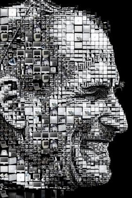 美国Happy birthday Steve快乐的生日史蒂夫-苹果电脑人像图案拼图