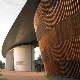 伦敦工作室BFLS-玻璃中庭墙壁凸起板条木材音乐厅