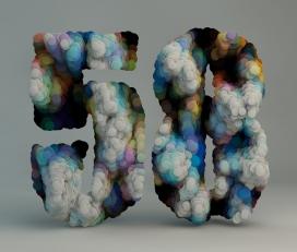 岩石眩光厚度字母数字排版设计-西班牙Txaber作品