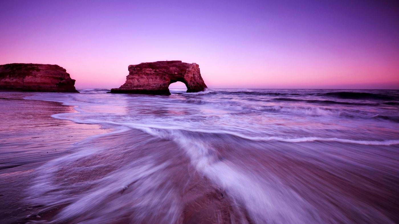 高清hd海滨波 大象石 紫色自然沙滩海边风景壁纸 手机移动版