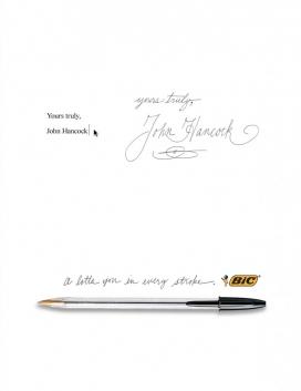 BIC钢笔办公用品平面广告