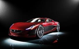 高清晰红色经典rimac概念汽车