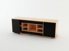 新思维狭小空间橱柜设计-餐具柜/电视柜和一个茶几