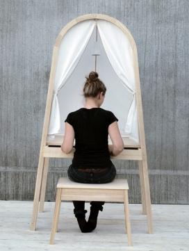 带遮布窗帘的桌子-Lisa Frode工业设计师作品-灵感来自飞机客舱窗帘可以分为不同的房间