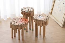 一个金属环包裹的木销子表凳子-Yuval Tal作品