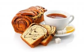 高清晰美味早餐-面包+奶茶
