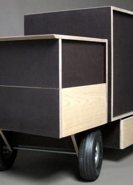 放置车轮木制餐具柜,把它变成一个微型卡车-法国设计师Jérôme Dumetz作品