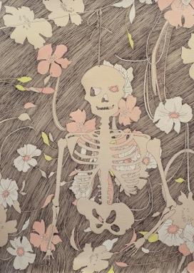 静物图插画-美国Erin Fostel插画师作品-来自生活,用黑色和金色的墨水,白色的木炭,彩色铅笔绘画成