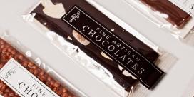 莱斯利的巧克力美食水果棒包装欣赏,巧克力都是从瑞士和法国提取最好的可可粉,一个简单的设计,让产品自己说话