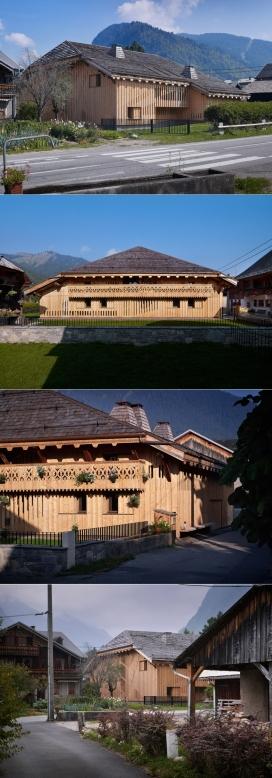 法国阿尔卑斯山农舍中笨重木包建筑物别墅-法国JKA建筑师作品