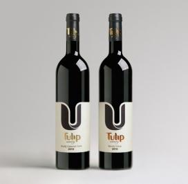 以色列郁金香高档葡萄酒瓶包装设计-新的清洁和简约的品牌标识,一个简单的视觉语言,用一个占主导地位的图形元素,其独特的造型,产生流动性和优雅的轮廓,并产生了富有美感的暗色调的对比