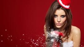 幸福新的一年祝福-高清晰漂亮圣诞欧式女壁纸