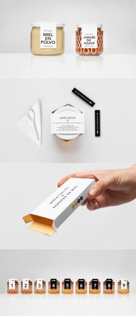 墨西哥Anagrama包装设计师作品-墨西哥本地手工制作蜂蜜包装产品,传达的清洁和优雅