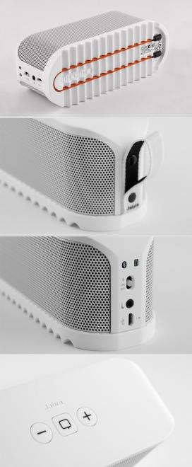 便携式蓝牙扬声器Jabra SOLEMATE ™音箱喇叭设计,便携的尺寸,大规模的声音,幽默的和新鲜的设计相结合,让音乐无处不在-丹麦海宁Thomas Lænner音箱产品设计师作品