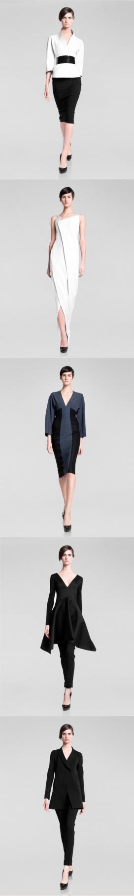 剪影-美国时装设计师Donna Karan2013晚装时尚秀,纯粹的裙子和丝绸裁剪上衣