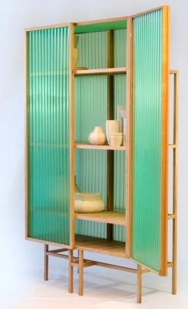 半透明橡木绿色的波纹PVC柜子-荷兰Dik Scheepers家居设计师作品