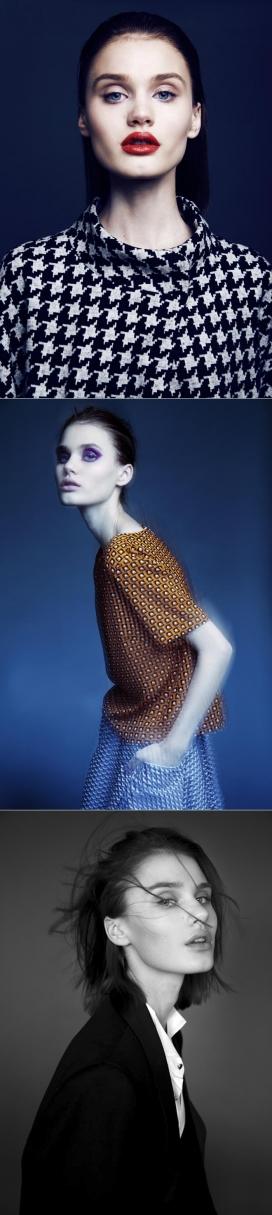 17岁的美女模特Nicole Poses穿上复杂的外观时装