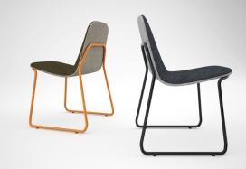 弯曲的钢框架双色调椅子-荷兰Jacob Nitz工业设计师作品