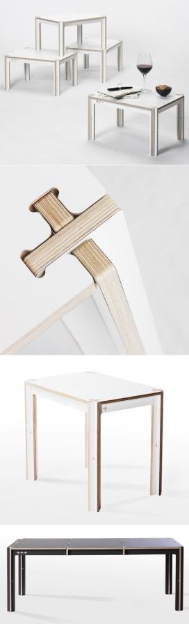 单张纸层压胶合板的家具-交叉十字接头,方便拆卸与组装