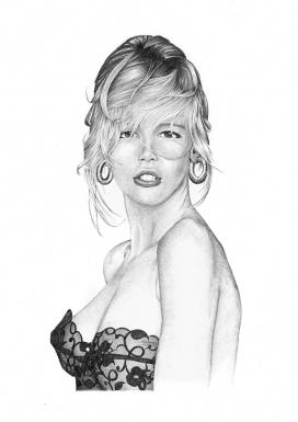 铅笔手绘肖像插图