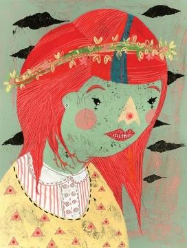 红头发公主的故事-本身是很干净,清晰的-所有的图纸都是在水彩和丙烯酸中创作的