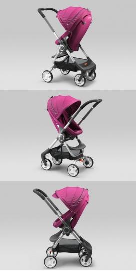 重量轻,易于处理的单手操作童车推椅-有四个不同的座位