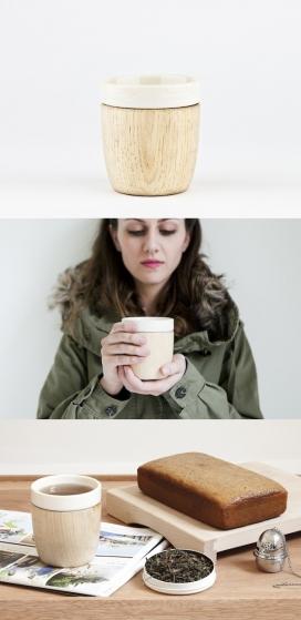 陶瓷容器杯中杯-,外层还有一个木杯,有助于举行驱散热量降温,雕刻的木杯省去了一个手柄,创造一个更亲密的经验-灵感来自日本传统漆杯