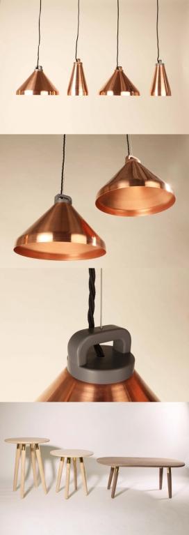 乔西・莫里斯的木材凳子和金属手柄铜吊坠灯家居用品