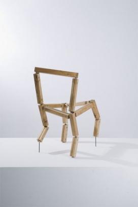 音乐椅-采用樱桃木手工制成,利用特殊的机械接头做关节