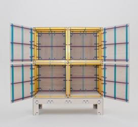 荷兰设计周2013-采用鹿特丹胶合板设计的一个彩色网格虚线图案柜子