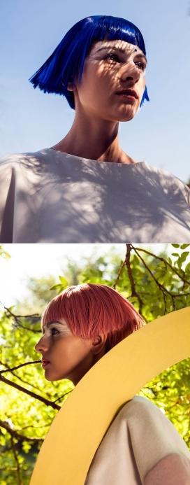 克里斯蒂娜-刘雯-大胆的发型-楠蓝色和粉红色的色调结合几何形状色块,呈现一幅最新独家时尚元素前卫风格