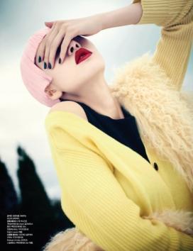 甜蜜的诱惑-Bazaar芭莎韩国2013年11月-马卡龙的颜色外套毛衣和礼服风格