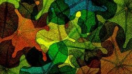 五彩玻璃叶拼图插画