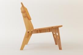 Boomerang木椅子设计-无需任何硬件或粘合剂可以进行组装和拆卸,简洁的线条外观,可以与沙发配对,采用竹胶合板为主材料,部分被切断,结果打磨并用清漆聚氨酯做漆面保护,保持其原来的颜色