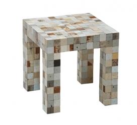 边角料家具-荷兰设计师Piet Hein Eek(海恩伊克)创造了木头小方块马赛克家具集合-都是从废旧木家具回收废料,然后剪切精心粘合在一起制成