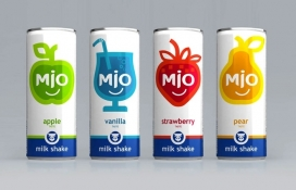 俄罗斯MIO碳酸汽水奶昔包装设计-简化的水果插图,后面还有一个微笑商标,使产品线很友好,清新的外观,引人注目