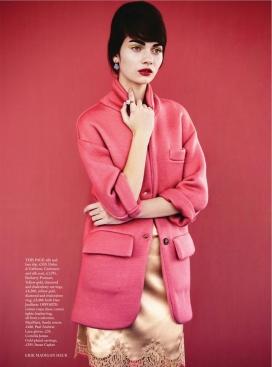 甜蜜的六十年代-芭莎英国2014年3月-柔和的印花,充满激情的颜色时装秀