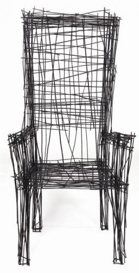 充满活力的抽象钢丝扶手椅-家具的灵感来自旧金山公园线路图-韩国首尔Jin il Park家居工业设计师作品