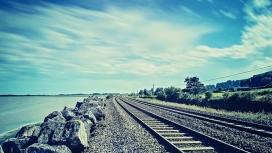 海洋岩石铁路壁纸