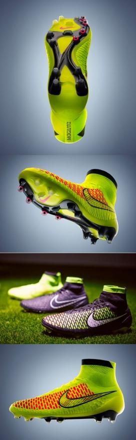 耐克Flyknit技术针织足球鞋-针织鞋面延伸到踝关节,像袜子以适应脚步,感觉就像玩家身体的延伸