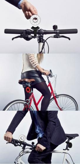 伦敦设计师保罗双O自行车LED灯-面临盗窃和眩光的光源,想设计了一个时尚的光,灵感直接来自自行车的形状
