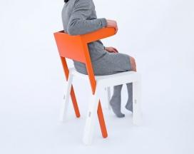 交叉色差功能踏脚凳椅子-可以变形转换成一个桌子,一个梯子,一个书桌,一个衣帽架
