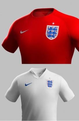 2014英格兰细条纹图案足球套装服装设计