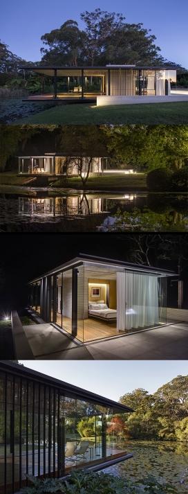 安静亭-似乎浮在荷花池,灵感来自莫奈绘画场景,位于澳大利亚悉尼郊区80亩柑橘果园附近,并提供了一个让人反思和休息的一个特殊空间。